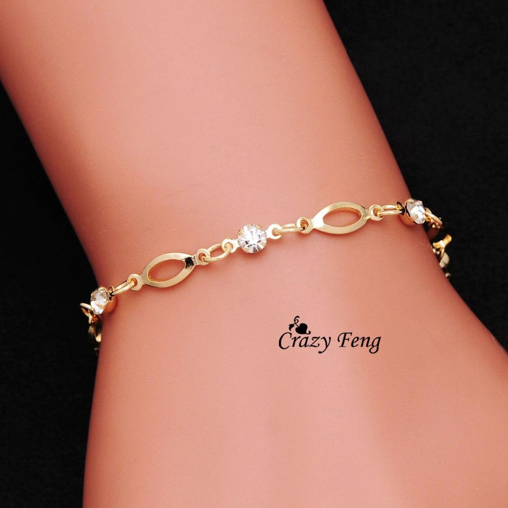 Wholesale 18k Gold Plated Crystal friendship bracelets bracelets for women gift Free Shipping(China (Mainland))