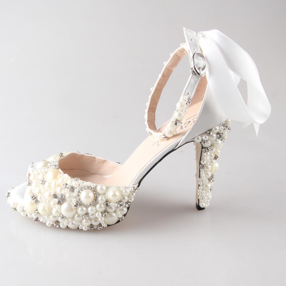 Hand Sewn Pearl Rhinestone Ivory Bridal Shoes D Orsay Peep Toe Woman Wedding Party Prom Pumps