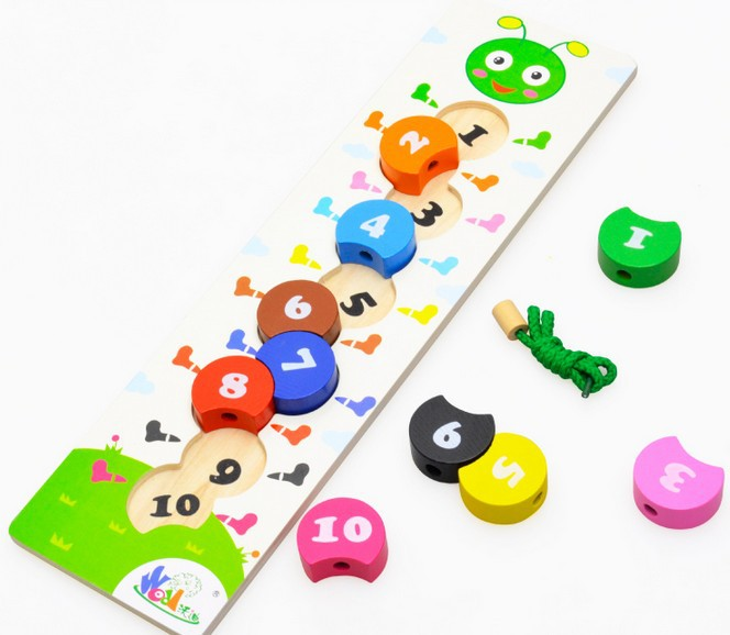 Free delivery, strings of beads series,wooden toys, learning and education of baby toys,The caterpillar digital bead game(China (Mainland))