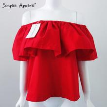 Simplee Apparel Sexy slash neck ruffles women tops tees Off shoulder beach summer style tops Women blouses shirt party tube top(China (Mainland))