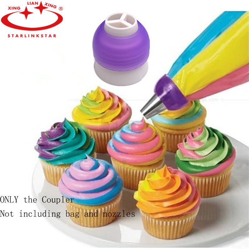1Pc 3 Hole Icing Piping Bag Russian Nozzle Converter Cream Coupler For Cupcake Fondant Cookie Cake Decorating Tools(China (Mainland))