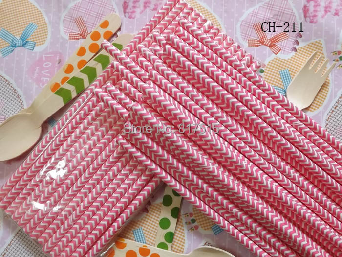 pink chervon disposable drinking straws cafe paper color straws Festival Event Wedding party supplies(China (Mainland))