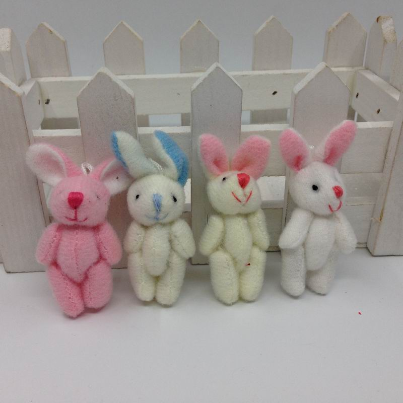 "4.5cm(1.8"") Plush Mini Rabbit Joint Bare Pendants Stuffed Bunny For Key chain/Bouquet/Mobile Phone/Bag Dolls soft Toys(China (Mainland))"