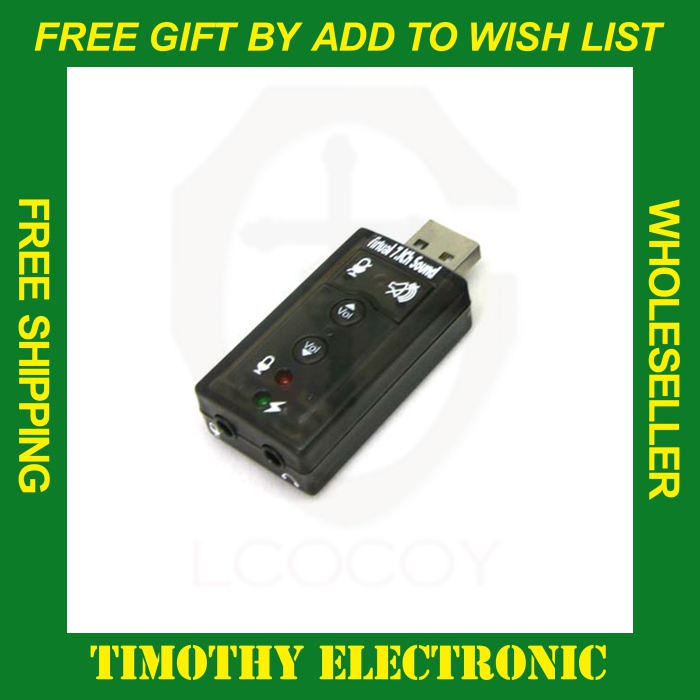 HOT SALE FREE SHIPPING USB Virtual 7.1 Channel 3D Audio Sound adapter 1PC(China (Mainland))