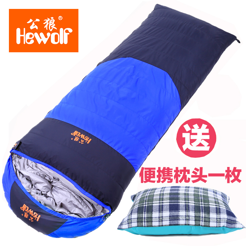 Hewolf down sleeping in spring and autumn winter outdoor camping adult envelope thick warm down sleeping bags 800g filling