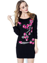 France England Russia Italy New Wool Turtleneck hand-embroidered Western women knitted sweater skirt(China (Mainland))