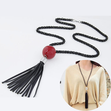 2016 Arrival Tassel Pendant Sweater Chain Long Beads Necklace Fashion Jewelry Gift White - ALxpress store