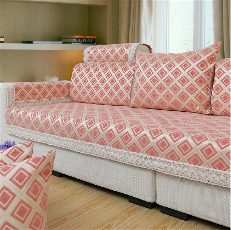 Modern Chenille Jacquard Fabric Corner Sofa Covers Flocked
