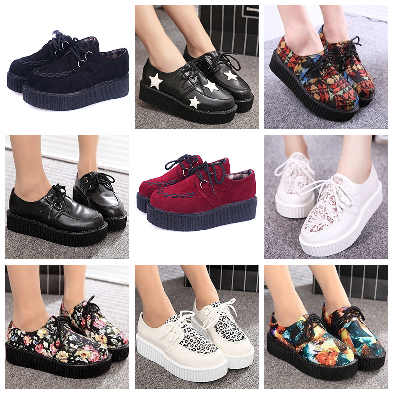 Creepers Size 35-41 women Shoes Woman Casual plus size zapatos mujer ladies creepers platform shoes Women Flats shoes platform(China (Mainland))