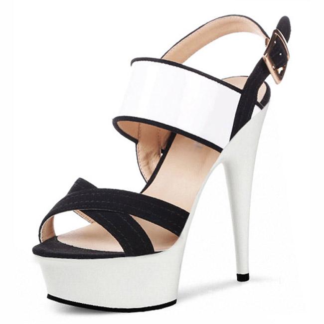 Фотография Fashion 6 Inch Platform Sandals 2016 New Ladies Crystal Shoes 15cm High Heel Sandals Sexy White/Pink Dress Shoes