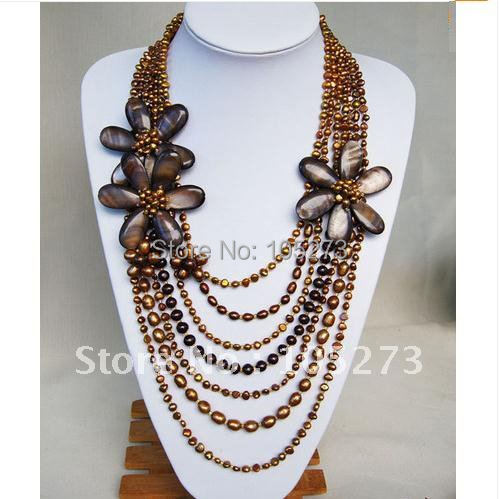 MULTI-STRAND NECKLACE WITH PEARL MOP WIRED FLOWER 20-28INCHS BEAUTIFUL FLOWER NECKLACE NEW FREE SHIPPING FN955<br><br>Aliexpress