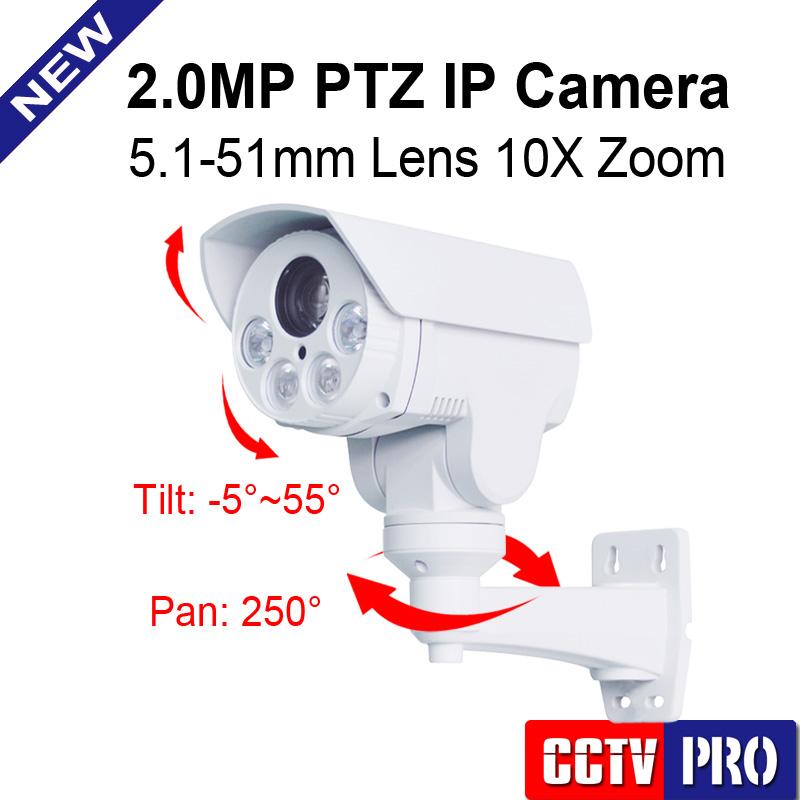 1080P Mini Bullet PTZ IP Camera 2.0MP 10X Zoom Auto Iris Lens Pan/Tilt Rotation Outdoor IR 80M,With POE/Alarm/Audio in Optional(China (Mainland))
