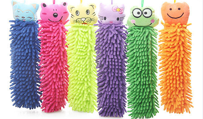 5 pieces/lot! Cartoon Chenille Hand Towel Kid's Absorbent Hand Dry Lovely And Warm Gift Wipe Towel(China (Mainland))