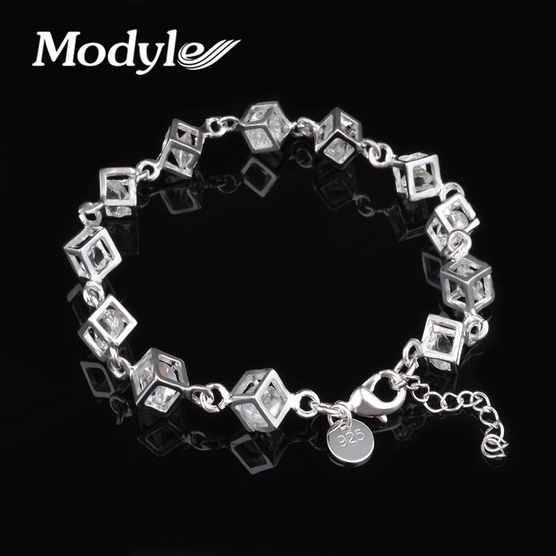 2016 New Luxury Austrian Crystal Cubes Bracelet for Women Silver Plated Fashion Charm Bijoux Bracelets(China (Mainland))