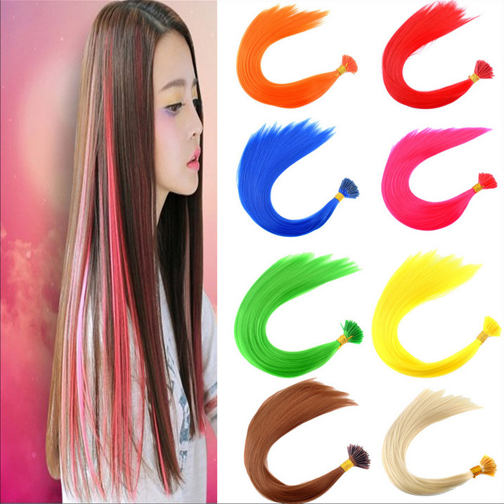 "100PCS/Lot 16""(40cm) Loop Hair Extensions Long Straight Cosplay Costume Hair Accessories Synthetic Hair Pieces"
