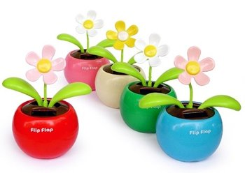 Free shipping 10pcs Solar Powered Flip Flap Flower Cool Car Dancing Toy 5colors with pvc box
