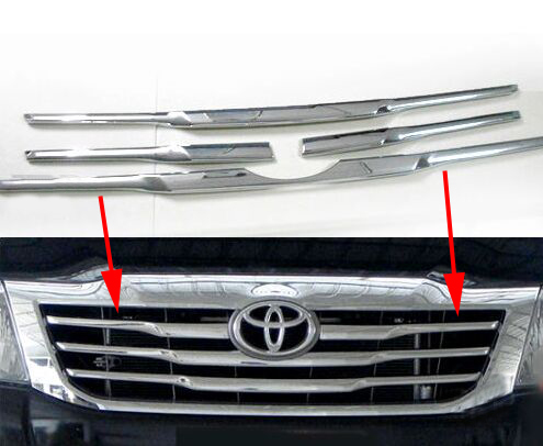 ABS for Hilux Grill Cover Chrome Front Grill Cover Trim For for Hilux Vigo 2012 - 2014 Hilux Grille Accessories(China (Mainland))