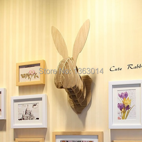 J&E Cute Bunny wood animal head MDF wood wall decor self-build puzzle(China (Mainland))