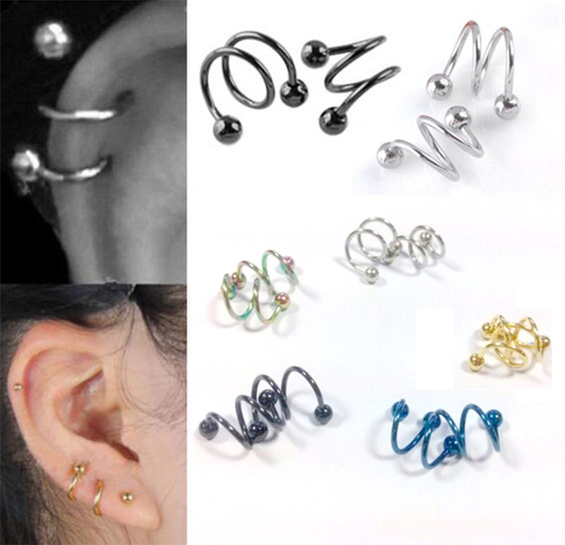 Punk Stainless Steel S Spiral Helix Ear Stud Lip Nose Ring Cartilage Piercing Jewelry Fashion Earrings brinco brincos EAR-0064(China (Mainland))