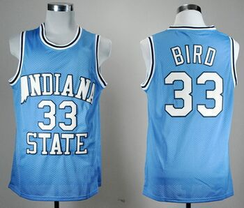 Indiana State Sycamores #33 Larry Bird Blue College Throwback Basketball jerse Embroidery logos Size S-XXXL Free Shipping(China (Mainland))