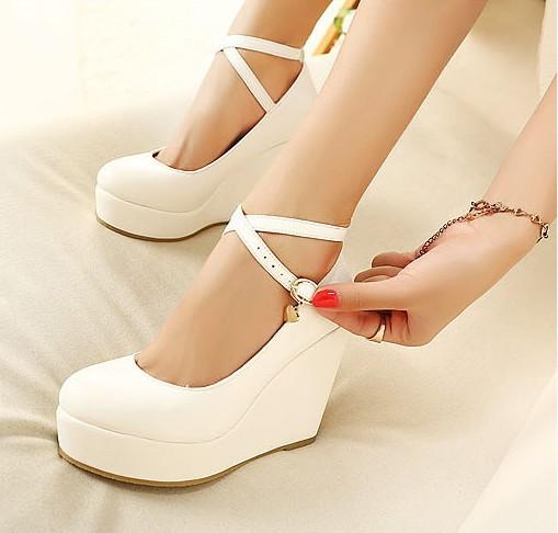 3Colors Fashion Womens Shoes Buckle Pumps Super Wedges Platforms High Heels Vogue Hasp 9 - goodluckeshop store