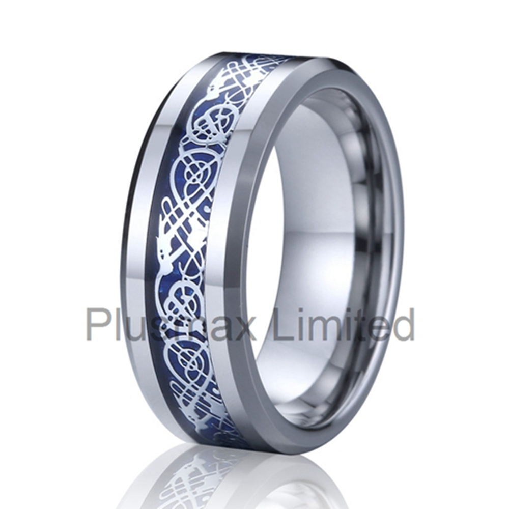 factory wholesale bulk rings for women and men beautiful tungsten ring with blue fiber inlay anillos de tungsteno anelli uomo(China (Mainland))