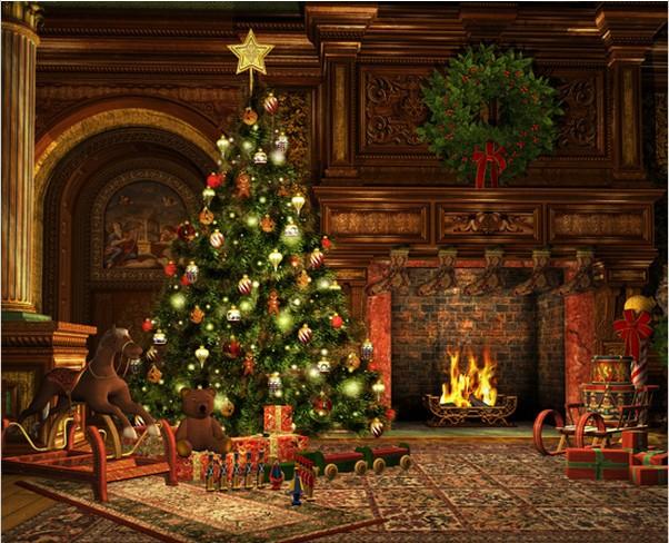 Living Room Garland Carpet Rocking Horse Carpet Fireplace Christmas ...