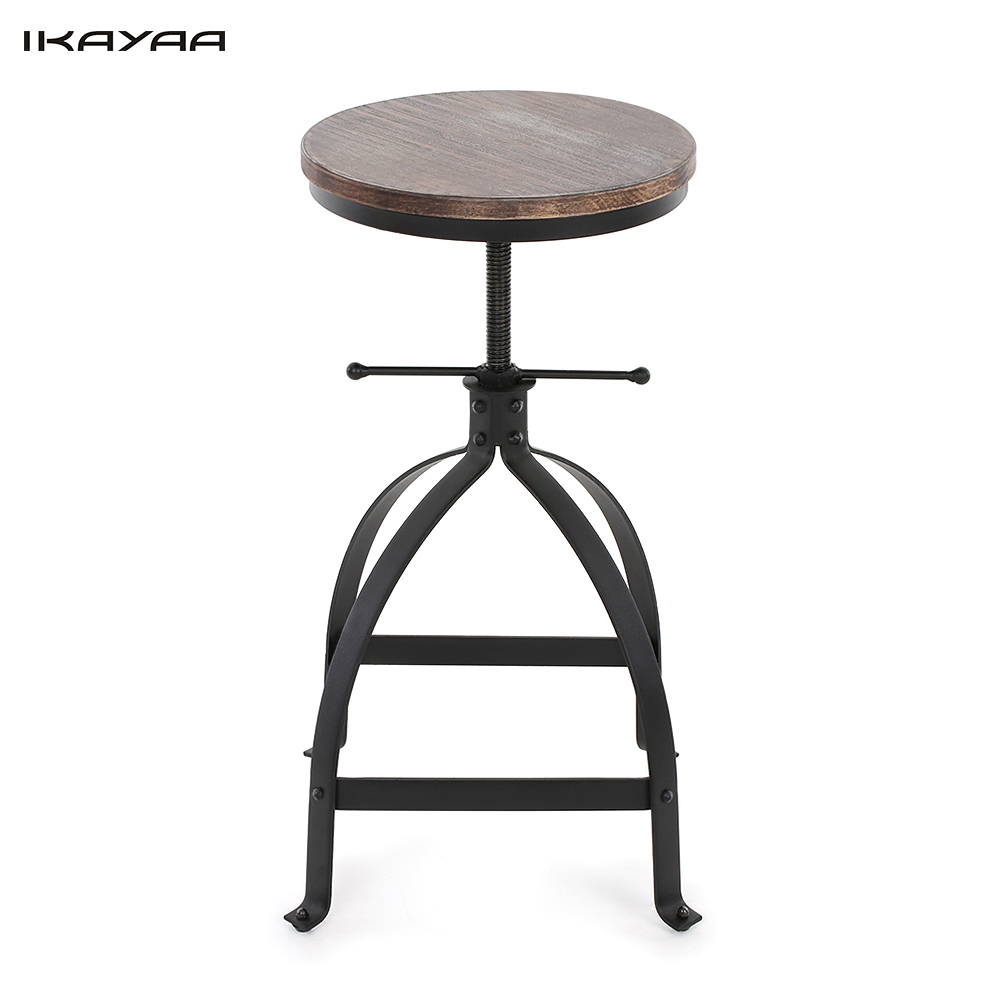 IKAYAA Industrial Style Adjustable Height Swivel Kitchen Dining Breakfast Chair Natural Pinewood Top Bar Stool US Stock(China (Mainland))