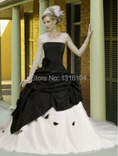 Medieval Black White Bridal Gowns With Color Two tones Ball Gown Taffeta With Train Victorian Quinceanera Girl Wedding Dresses(China (Mainland))