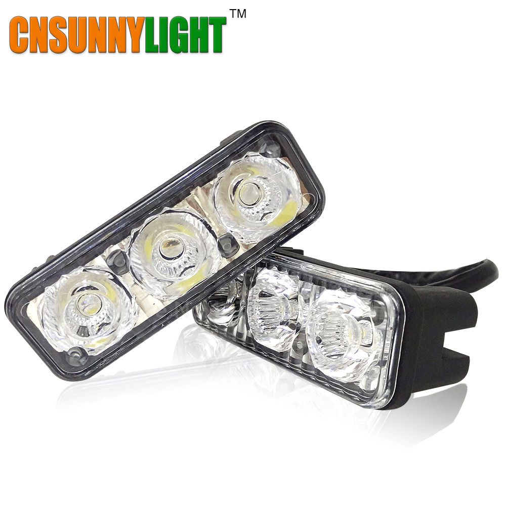High Quality High Power 2Pcs/Set 6 Led 9W Universal Car Light Source Waterproof DC12V DRL Daytime Running Light Auto Lamp White(China (Mainland))