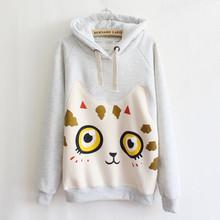 3 Colors Big Cat Hoody Women's Hoodies Animal Printed Thick Fleece Warm Vestidos Hoodie Women Sweatshirt Tracksuits Crop Top(China (Mainland))