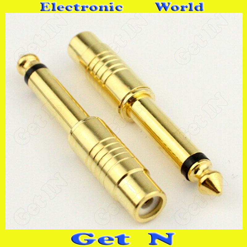 100pcs Gilded Gilt Adapter Connector Converting 6.5 to RCA Female 6.5 Male to RCA Female Adapter Connector for Audio Console Mix<br><br>Aliexpress
