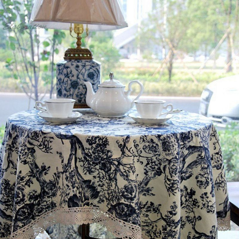 Chinese Blue and White Print Style Classic Cotton Round Table Cloth Wedding Tablecloth Mantele Table Cover Nappe Toalha De Mesa(China (Mainland))