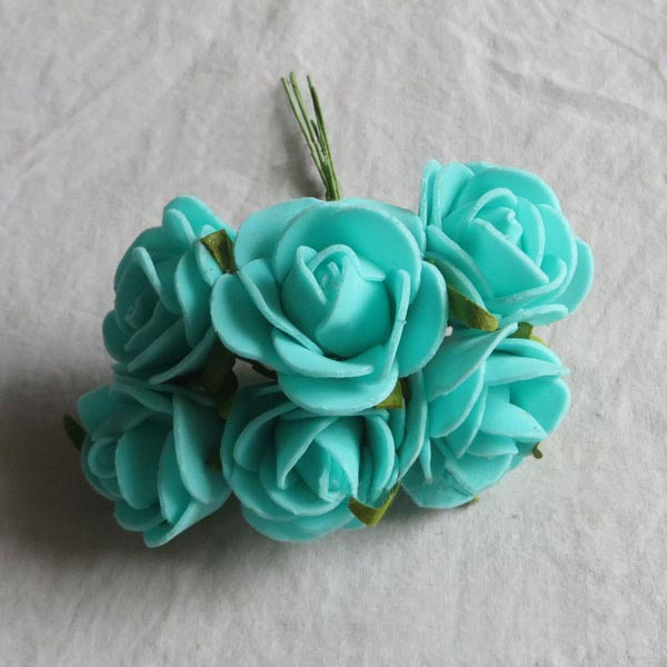 3cm 72pcs tiffany blue real touch foam smal roses bouquet for How are blue roses made