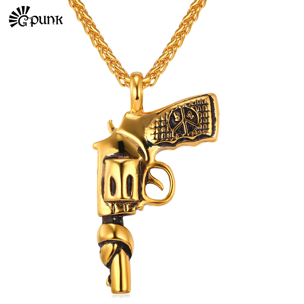 G Punk Rock American Style Men Chain Gun Pendant Gold Plated Stainless Steel Vintage Statement Necklace P1846G(China (Mainland))
