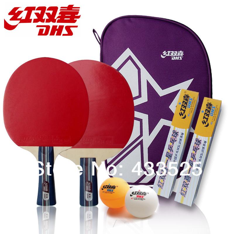 Free shipping DHS Table tennis racket double happiness sports table tennis racket finished products set, pingpong racket,(China (Mainland))