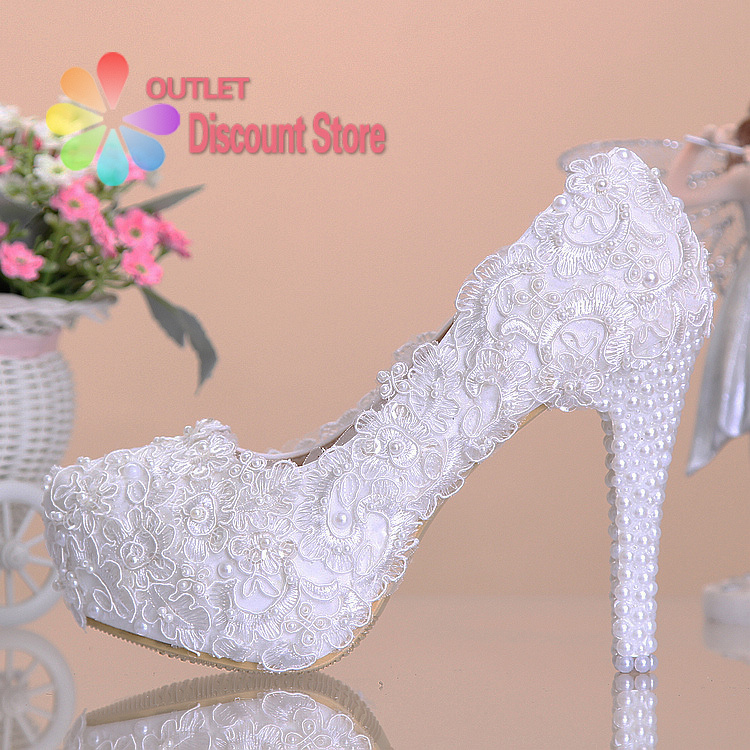 2014 new white lace wedding shoes lace prom high heels