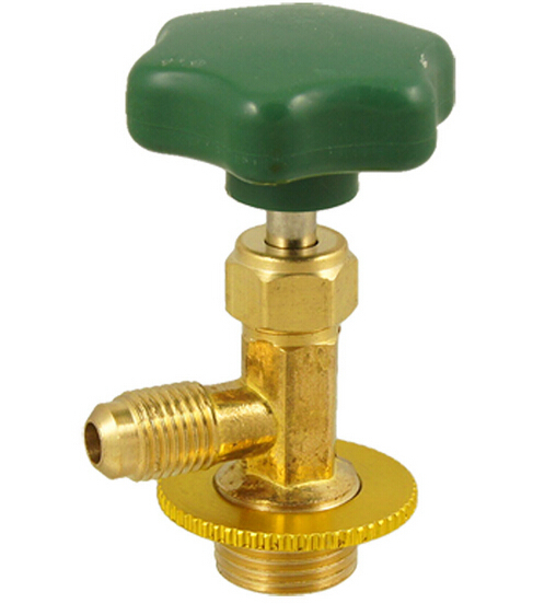 Green Plastic Cap Gold Tone Brass Forged R134a Refrigerant Can Tap Valve(China (Mainland))