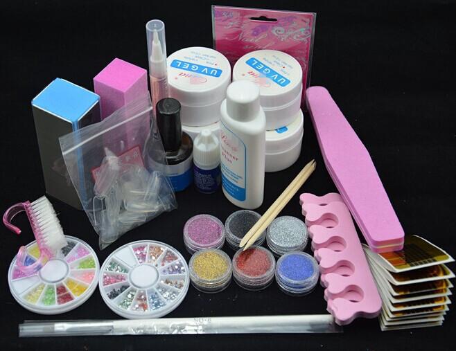 Professional Full Set UV Gel Kit Nail Art + 6 Powders Glues FILE BLOCKS Primer Tips tools