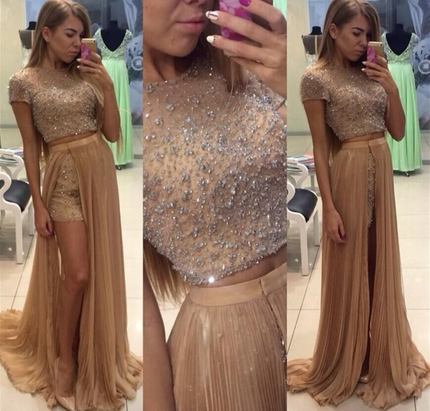 Two Piece Fashion Prom Dresses 2016 O Neck Short Sleeve Floor Length Crystal Tulle Long Evening Dress Vestido longo(China (Mainland))