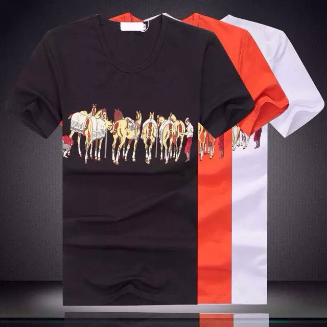 Brand HE 2015 New T Shirt Men Summer Horse Cotton O-neck Short Sleeve Camisetas Male France Fashion Brand Clothes Cheapest(China (Mainland))