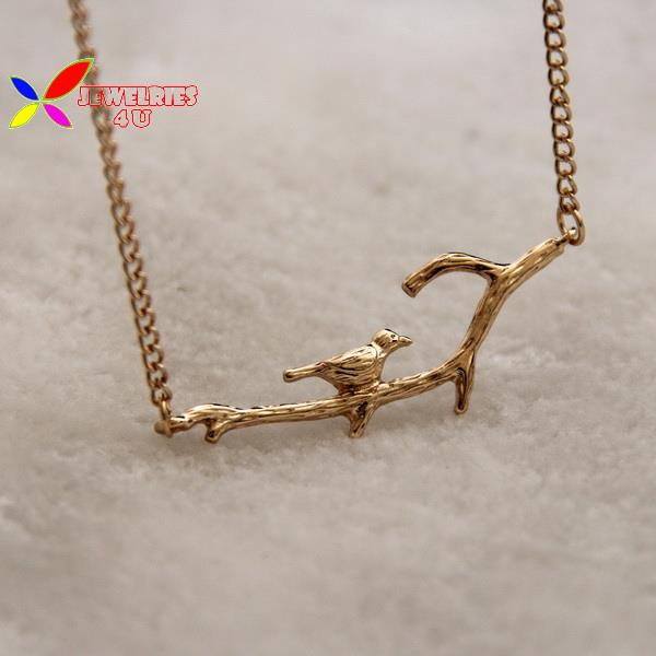 2015 fashion vintage designer golden silver tree branches lovely bird false collar pendant necklace for women Collier oiseau(China (Mainland))