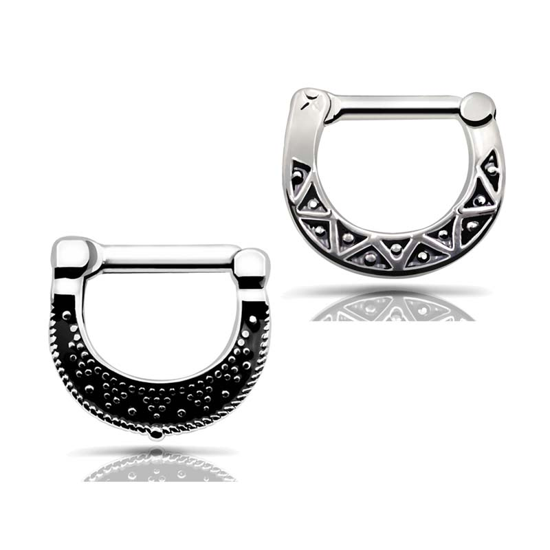 Hot sale 4pcs 316L Stainless Steel Black Septum Clicker Hinged Beaded+Triangle Nose Ring Piercing Jewelry nose Septum clicker(China (Mainland))