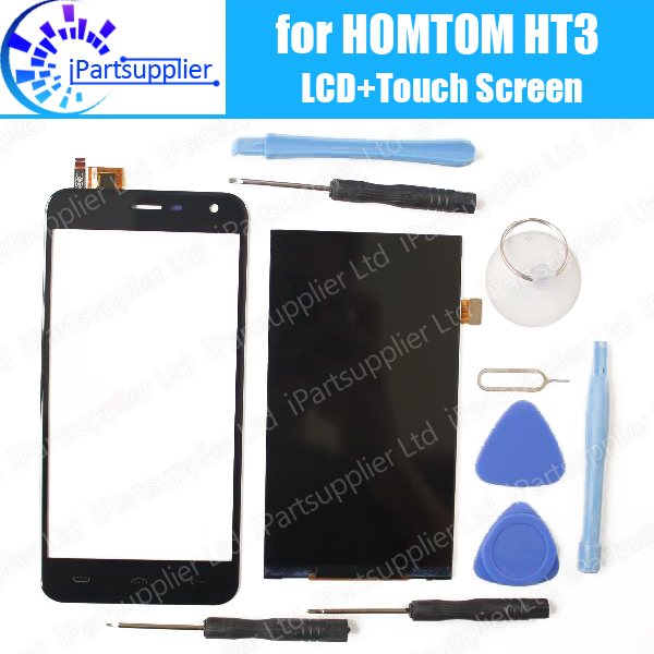 HOMTOM HT3 LCD Display+Touch Screen Assembly 100% Original LCD Digitizer Glass Panel Replacement For HOMTOM HT3 Phone+Tools(China (Mainland))