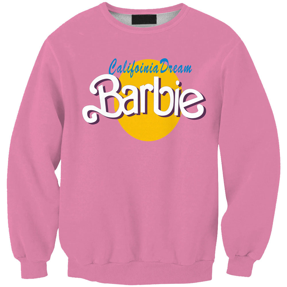 Tracksuits 2015 Fall Men/Women Pullover Pink Hoodies 3D Letter BARBIE Graphic Print Crewneck Sweatshirt Long Sleeve Sweat Shirts(China (Mainland))