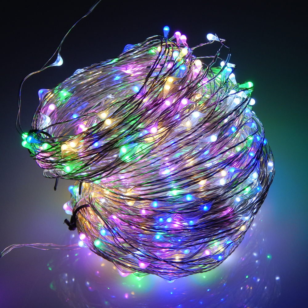 50m 500 Leds Silver Wire Warm White LED String Light Starry Lights Christmas Tree Lights+Power ...