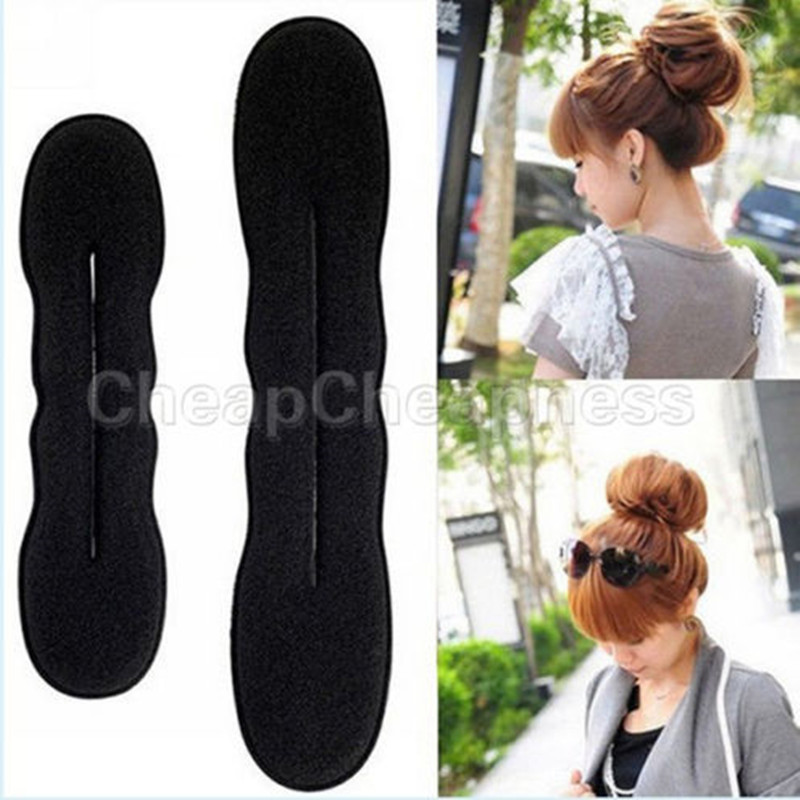 Two size 1 Pcs Black Women's Magic Foam Sponge Hairdisk Hair Device Donut Quick Messy Bun Updo Headwear(China (Mainland))