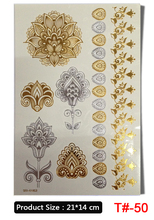 Wholesale Body Paint Glitter gold tattoo stickers Body Art Tattoo Metal temporary flash tattoos Arabic Henna