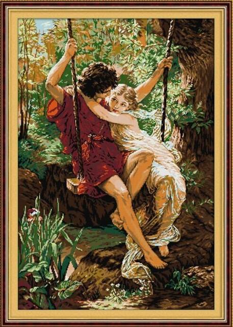 Счастливое время в любовник свинг вышивки крестом 14ct 11ct белой ситец вышивка DIY рукоделие ручной комплект стены домашнего декора