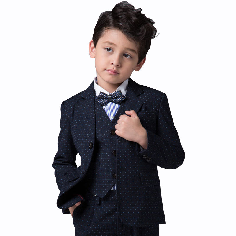 Boys Formal Wedding Suit For Kid Clothes Boys Blazers Jackets + Suit Pant +Suit Vest +Shirt+A Tie Bow for Kids Prom Tuxedo Suits(China (Mainland))